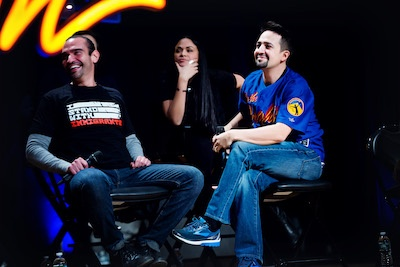 Javier Munoz and Lin-Manuel Miranda at the In The Heights 10th Anniversary Reunion at BroadwayCon 2018
