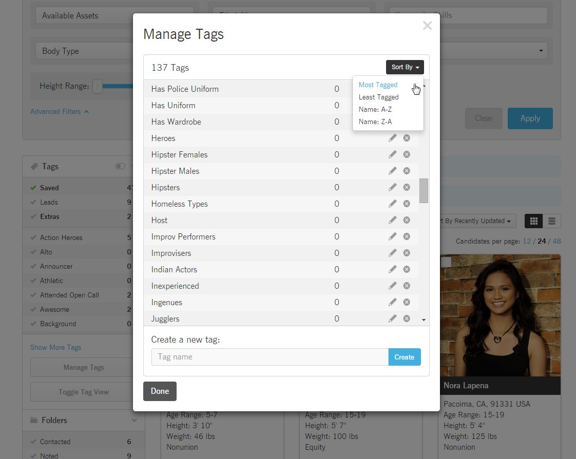Talent Database Tag Manager