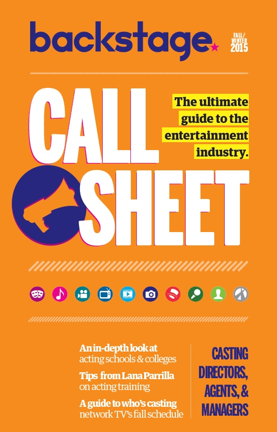 Call Sheet Cover - Fall-Winter 2015 - Film, TV, Acting Schools, and Colleges directory