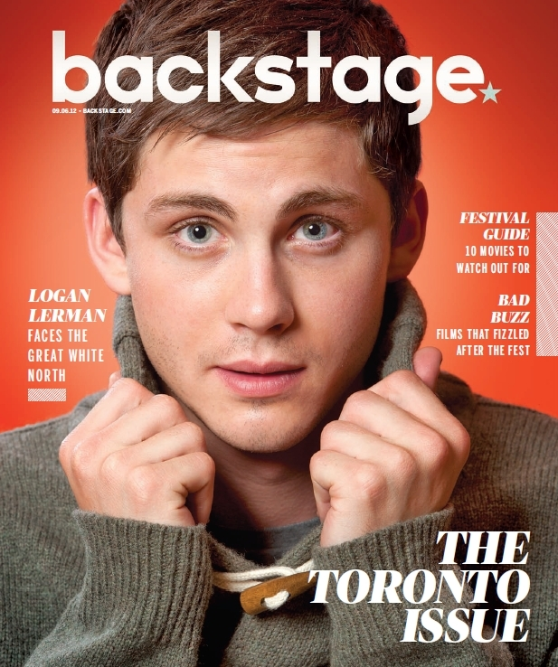Logan Lerman on Backstage Magazine's cover