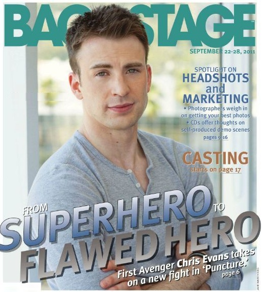 Chris Evans on Backstage Magazine