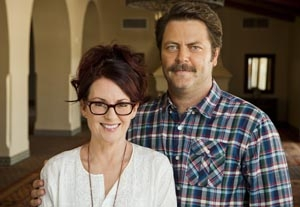 Megan Mullally and Nick Offerman Embrace Love and Laughter On Screen and Off