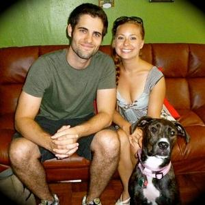 Maria Aparo - Family Photo (Real husband and dog)